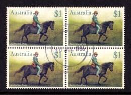 Australia 1986 Horses $1 Australian Pony Block Of 4 Used - GPO DARWIN, NT 5790 - 1980-89 Elizabeth II