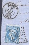 MAINE ET LOIRE 49 ANGERS LAC TAD Type 15 Du 23/07/1866 GC 99 Sur N° 22 TTB - Marcophilie (Lettres)