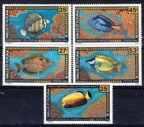 WF 1993 Serie N. 451-452 E 457-458 + N. 438 Pesci MNH Cat. € 11.90 - Wallis E Futuna