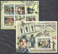 C158 2009 S S.TOME E PRINCIPE FAMOUS PEOPLE CHARLIE CHAPLIN 1BL+1KB MNH
