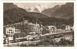 Interlaken - Bahnhofquartier, Jungfrau Und Mönch - Carte Photo - Ed. Schild-Bichsel - 1937 - Gare, Train, Chemin De Fer - BE Berne