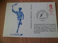 France Carte Souvenir La Poste Parcours De La Flamme Olympique Paris Le 14/12/1991 Logo Alberville En Rouge   TB