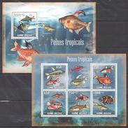 C163 2009 GUINE-BISSAU FISH&MARINE LIFE TROPICAL FISH PEIXES TROPICAIS KB+BL MNH