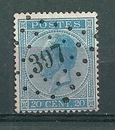 18 Gestempeld PT 397 WERVICQ - COBA 8,00 - 1865-1866 Profile Left