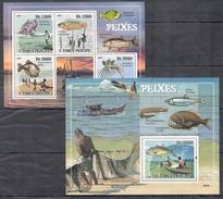 C164 2009 S S.TOME E PRINCIPE FISH & MARINE LIFE PEIXES 1BL+1KB MNH
