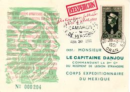 Militaria, Légion étrangère, Carte Camerone, Sidi Bel Abbes 1951, Carte Numéroté, Timbre Algérie - Poststempel (Briefe)