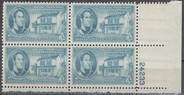 UNITED STATES      SCOTT NO. 996     MNH       YEAR  1950      PLATE BLOCK - Etats-Unis