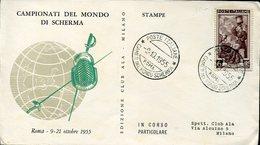 18877 Italia, Special Cover And Postmark 1955 Roma World Fencing Champ. Fechten Escrime 1955