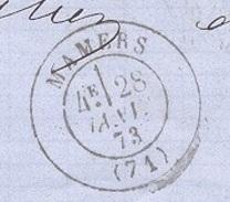 SARTHE 72 MAMERS LAC TAD Type 17 Du 28/05/1873  GC 2183 Sur N° 60 TTB - Marcophilie (Lettres)