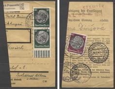 Deutsches Reich #525(2x, Mit UR),526 PaketKa-abschnitt Praunsnitz 26.6.41. Deutsch Prausnitz B. Trautenau, 26.6.41 Nach - Allemagne