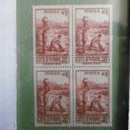 TIMBRES  BLOC  DE  4  A.O.F  COTE  D IVOIRE  1936.38  NEUF  GOMME  D ORIGINE - A.O.F. (1934-1959)
