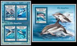 NIGER 2017 - Dolphins, M/S + S/S. Official Issue