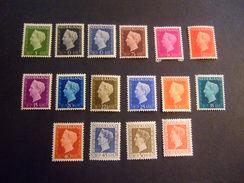 NETHERLANDS 1947  WILHELMINA  NVPH 474 - 489.   MH *  (E38-NVT)