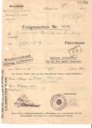 Freigabeschein De La Oelzentrale Brûssel En Novembre 1918 Carburant à Des Unités En Retraite à NEUVILLE (Arr. De HUY) VU