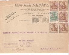 Devt. L. Sté Gle AG. DE LILLE  V/BRUXELLES TP. 20pf. Obl. Kaiserliche Generalkommissar + Bankauffichstelle LILLE 31/8/16