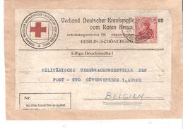 """Etiquette IMPRIMES"""" CROIX-ROUGE ALL. BERLIN 28/7/1916 V/1ère ARMEE Région De MONS"""
