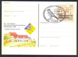 Germany 1998 Postal Stationery Card: Birds Oiseaux Vogel: Flerdlerchie (Alauda Arvensis) Eurasian Skylark Kloster