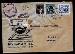 A4500) Czechoslovakia R-Brief Von Prag 16.10.47 Nach Basel / CH - Briefe U. Dokumente