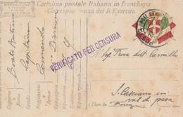 CARTOLINA VIAGGIATA IN FRANCHIGIA 1918 -VERIFICATO PER CENSURA (VP298 - Franchigia