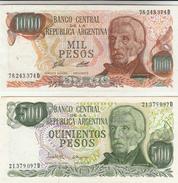 2 Banconote 1000 + 500 Pesos Argentina - Argentinië