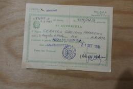 RINNOVO PORTO D'ARMI AUTORIZZAZIONE PISTOLA AUTOMATICA PER DIFESA PERSONALE CALTANISETTA 1991 TIMBRO PREFETTURA CL - Publicités