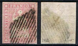 1854 : 15 C. Helvetia  Strubel  No (zn): 24B  Oblitéré Signé Marchand  SBK = 135 € - Oblitérés