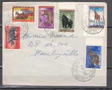 Congo Belge 1959,6V On Front Cover,FDC,monkey,giraffe,rhino,zebra,oryx(C191) - Apen