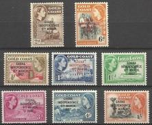 GHANA - 1957-8 Independence Overprints On QEII Pictorials MNH **  SG 170-3 & 175-8  Sc 5-10, 25 & 27