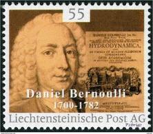 """BERNOULLI, Daniel - Hydrodynamica  - Liechtenstein 2014, MNH ** - Mathematician,  Mathematics - """"die Marke"""" - Sciences"""