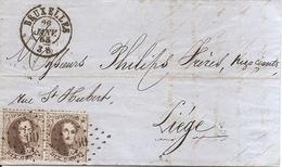 Belgique ( 14 En Paire Sur Lettre De 1865 De Bruxelles Vers Liège à Voir) - 1863-1864 Medaillen (13/16)