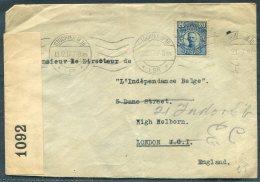 1917 Sweden Stockholm Censor Cover - 'L'Independance Belge' Belgium Newspaper, London