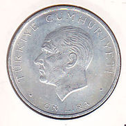 AC - TURKEY 10 LIRA 27 MAY 1960 SILVER RARE UNCIRCULATED - Turkije