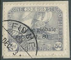 1919 FIUME USATO VALORE GLOBALE 80 CENT - P57-8 - Occupation 1ère Guerre Mondiale