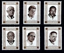 Série De Timbres Neufs ** MNH - Fujeira 1969 - De Gaulle Kennedy Martin Luther King Adenauer Paul VI Hammarskjold