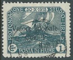 1920 FIUME USATO VALORE GLOBALE 1 COR - P57-5 - Occupation 1ère Guerre Mondiale