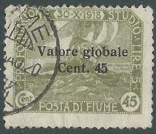 1920 FIUME USATO VALORE GLOBALE 45 CENT SASSONE 112 - P57-7 - Occupation 1ère Guerre Mondiale