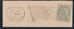 Cachet D'essais Machine BICKERDIKE – Drapeau Avec RF – Fragment De Lettre (Lot 4) - Postmark Collection (Covers)