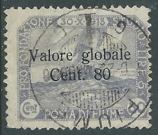 1920 FIUME USATO VALORE GLOBALE 80 CENT - P57-6 - Occupation 1ère Guerre Mondiale