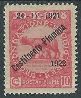 1922 FIUME COSTITUENTE FIUMANA 10 CENT MH * - P56-9 - Fiume