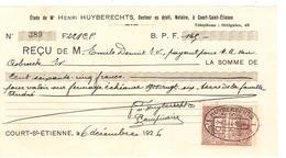Reçu 165 Frs De Henri Huyberechts Notaire Daté Du 6/121/1926 à Court-St-Etienne PR4125 - 1900 – 1949