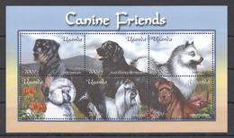 C182 UGANDA PETS DOGS CANINE FRIENDS 1KB MNH