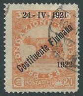 1922 FIUME USATO COSTITUENTE FIUMANA 20 CENT - P58-4 - Occupation 1ère Guerre Mondiale