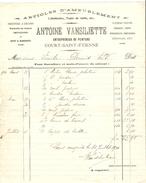 Facture Datée 1916 De Antoine Vansillette Entrepreneur De Peinture à Court-St-Etienne PR4131 - 1900 – 1949