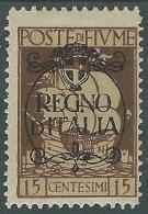 1924 FIUME REGNO D'ITALIA 15 CENT MH * - P59-6 - 8. Occupazione 1a Guerra