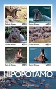 Guinea Bissau 2016, Animals, Hippopotamus, 6val In BF IMPERFORATED