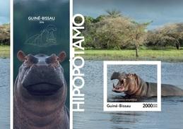 Guinea Bissau 2016, Animals, Hippopotamus, BF IMPERFORATED