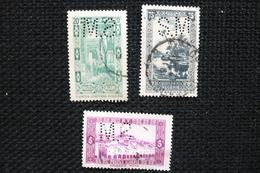 Perfin   3 Timbres Algérie   Perforé Lochung SM34