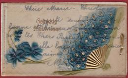 Card Kaartje Gelukkig Nieuwjaar Celluloid Marthe (12.5 X 7.2 Cm) Happy New Year Bonne Annee - Faire-part