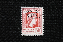 Perfin  Marianne Alger 50c   Algérie   Perforé Lochung  CL10 En 1945