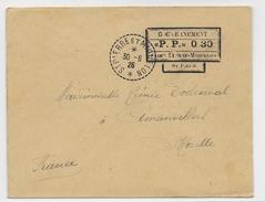 SPM - 1926 - ENVELOPPE Avec  AFFRANCHISSEMENT PROVISOIRE PORT PAYE De ST PIERRE => AMANVILLERS (MOSELLE) - St.Pierre Et Miquelon